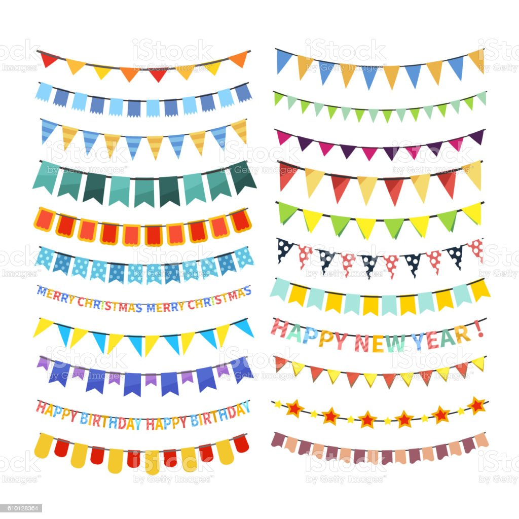 Set of colorful bunting and garlands isolated on white vector art illustration