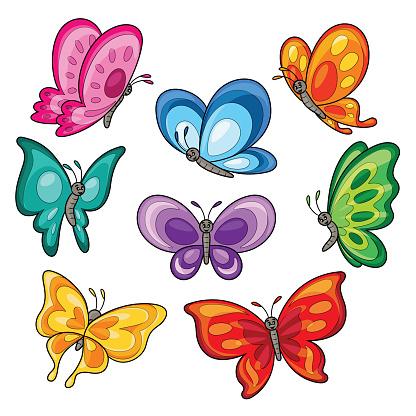 Set of colorful butterflies cartoon.