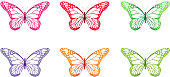 Set of Realistic Colorful Butterflies Isolated for Spring. Editable Vector Illustration