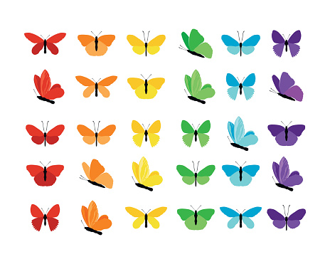 Set of colorful butterflies silhouettes collection spring and summer with different shapes of wings. Isolated on white background, for illustration, ornaments, tattoo. Vector illustration. clipart
