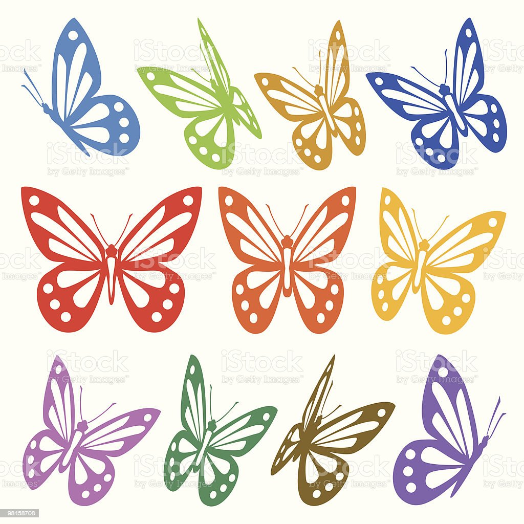 Set of colorful butterflies silhouettes - vector graphic royalty-free set of colorful butterflies silhouettes vector graphic stock vector art & more images of animal