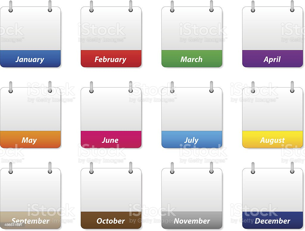 Set of colorful calendar icons with months of the year vector art illustration
