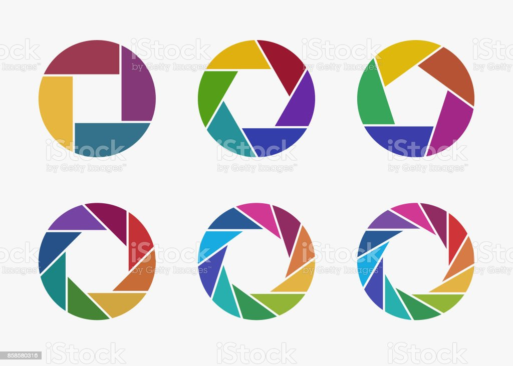 Set of colorful camera lens aperture icons. royalty-free set of colorful camera lens aperture icons stock illustration - download image now