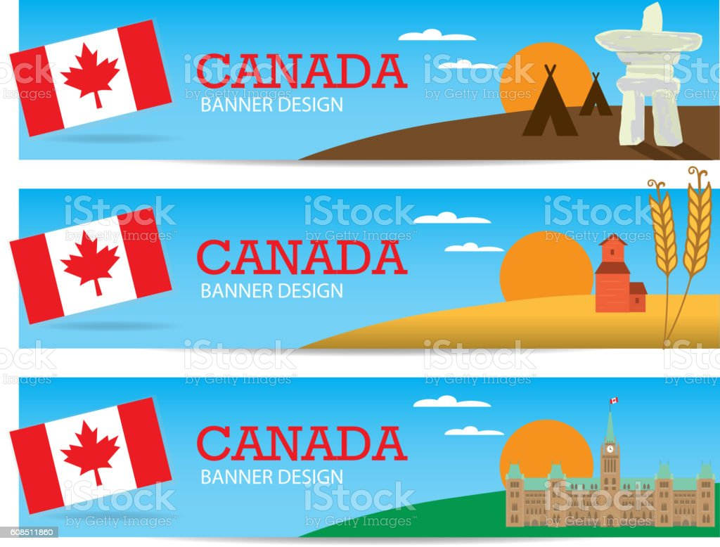 Set of colorful Canada themed banner design templates with text vector art illustration