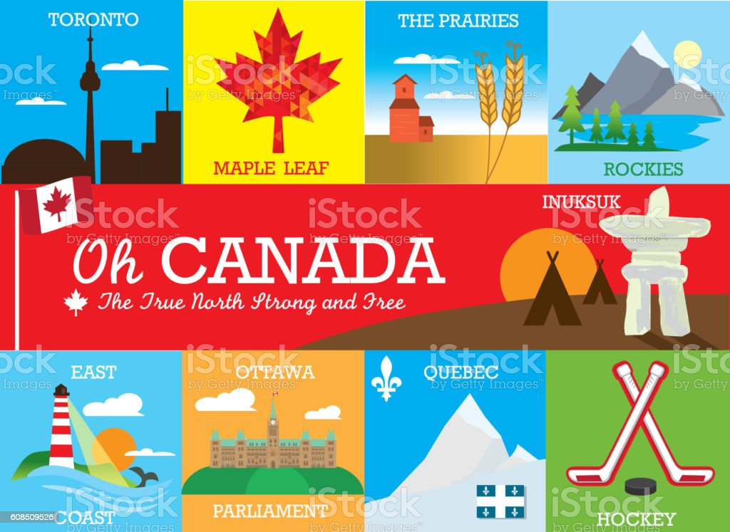 Set of colorful Canada themed labels and designs with text vector art illustration