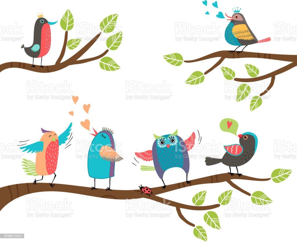 Ensemble Colore De Dessin Anime Doiseaux Sur Les Branches Cliparts