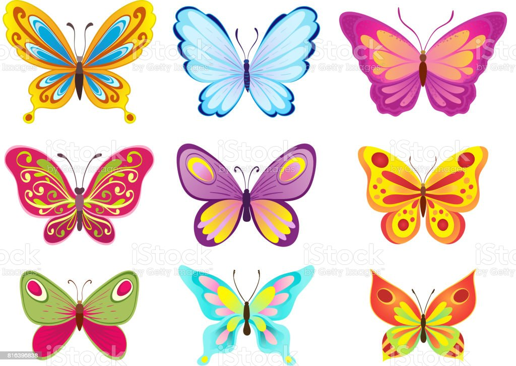 set of colorful cartoon butterflies on white. vector illustration vector art illustration