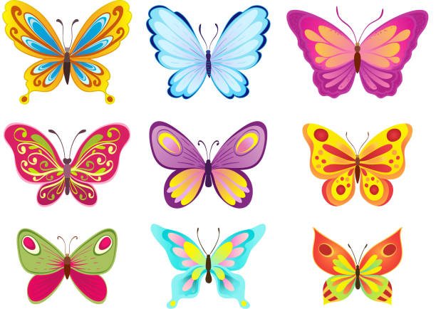 set of colorful cartoon butterflies on white. vector illustration - butterfly stock illustrations