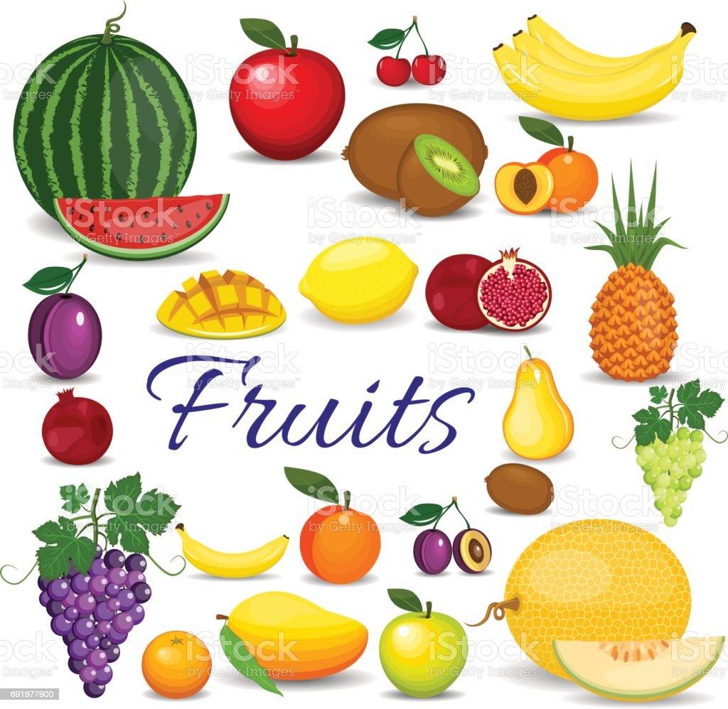 set of colorful cartoon fruit set of fresh healthy fruits stock