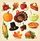 Set of colorful cartoon icons for thanksgiving day. EPS10. Contains transparancy