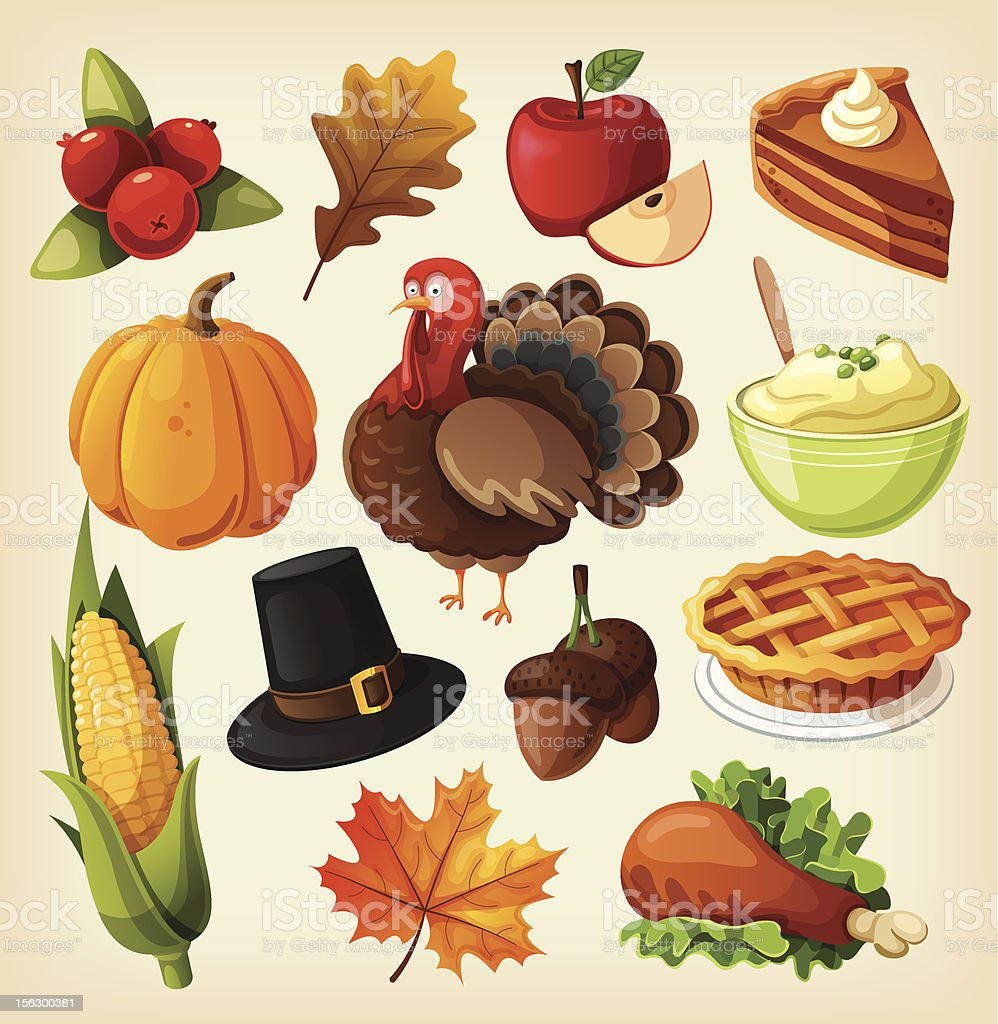 Set of colorful cartoon icons for thanksgiving day. vector art illustration