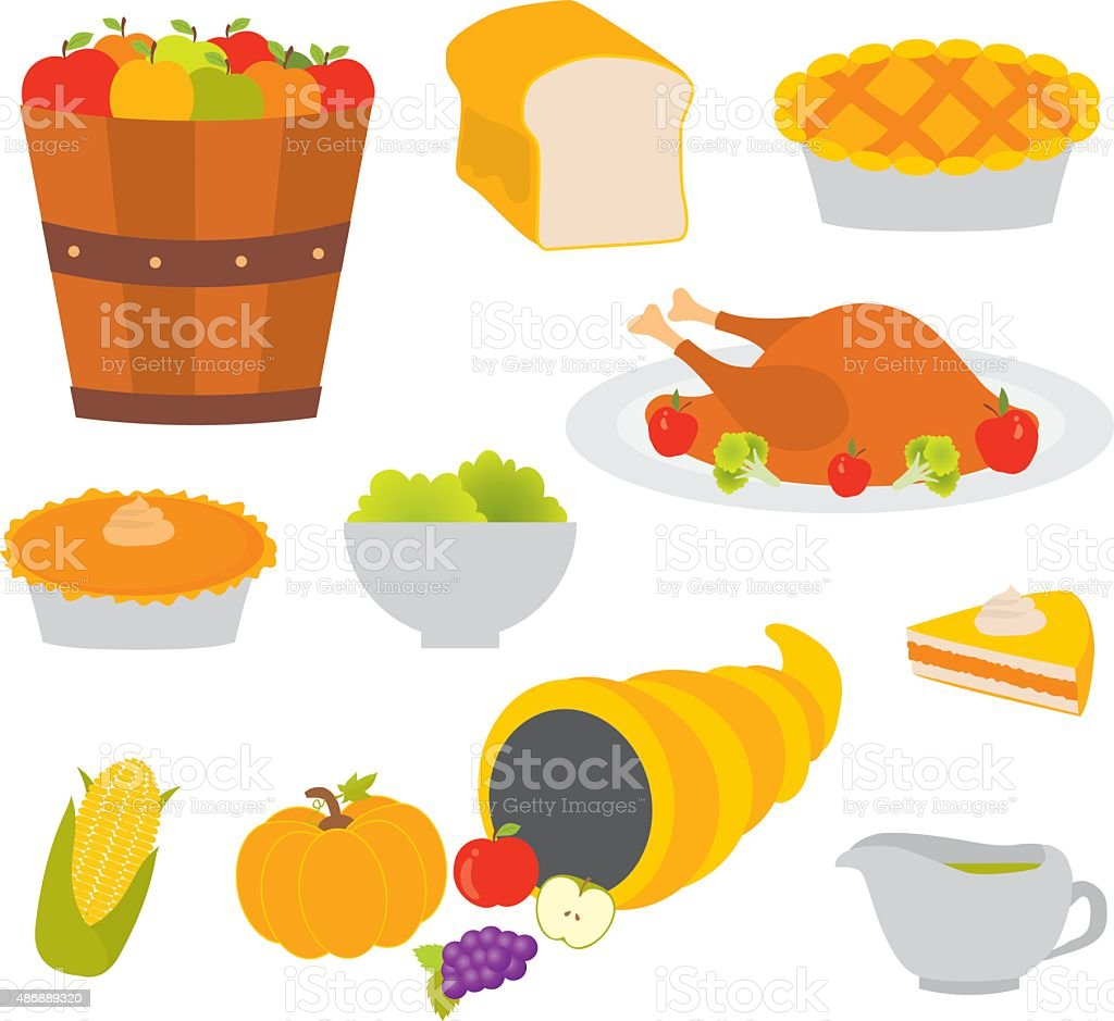 Set of colorful cartoon icons for thanksgiving day vector art illustration
