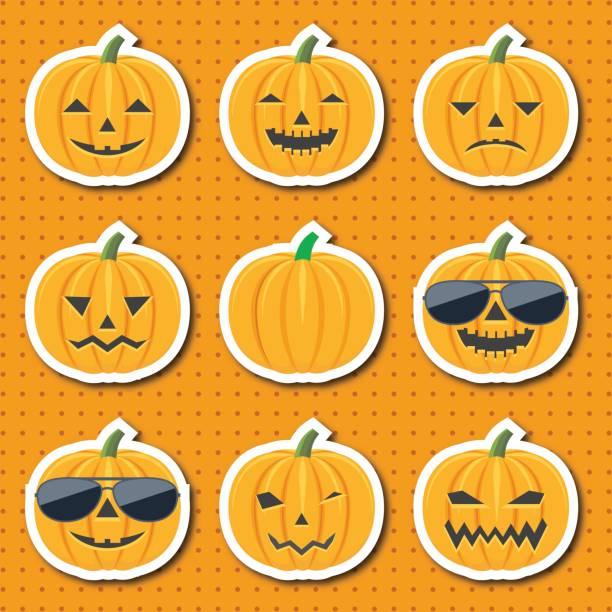 Ensemble d'icônes cartoon coloré de l'affectif, souriant de citrouilles - Illustration vectorielle