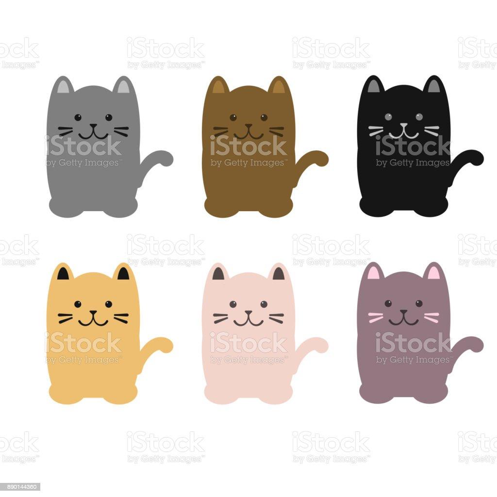 Set of colorful cats sitting. Vector illustration. vector art illustration
