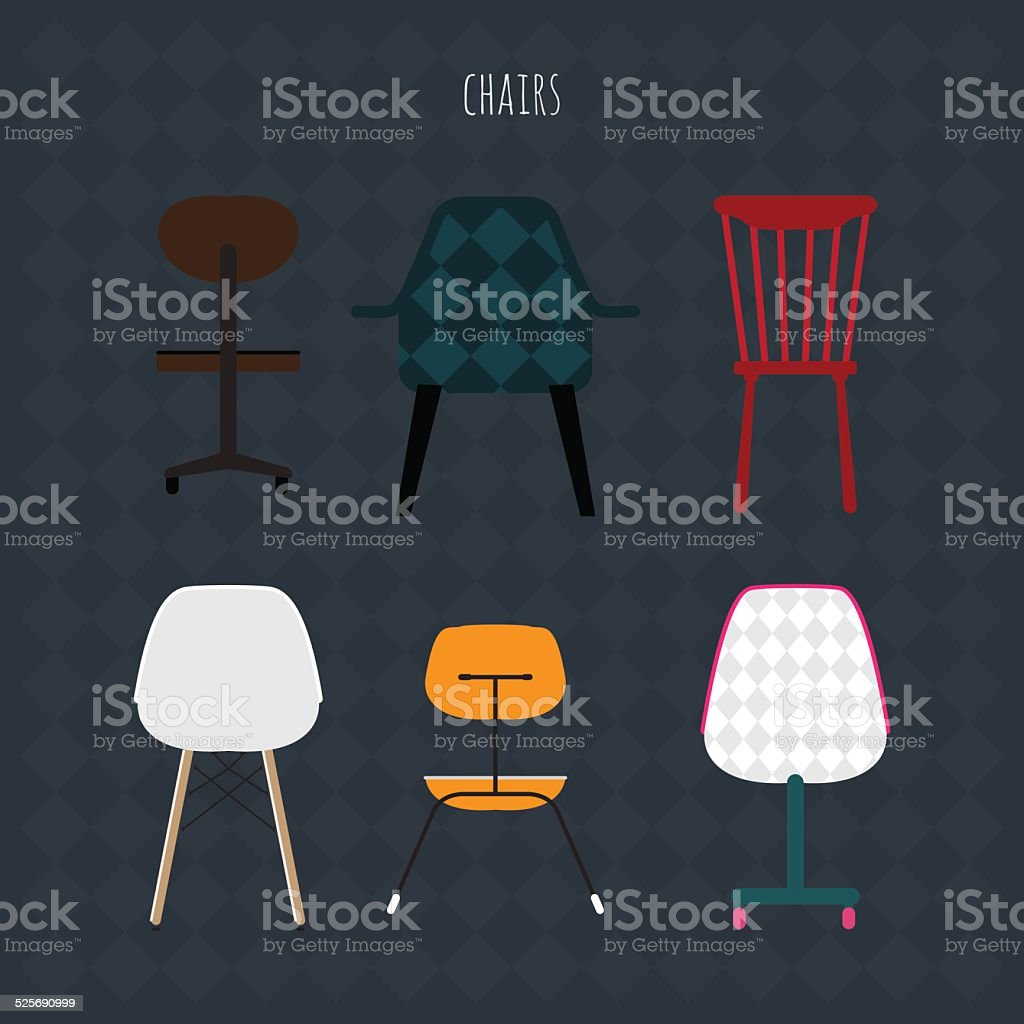 Set of colorful chairs. Vector flat illustration. vector art illustration