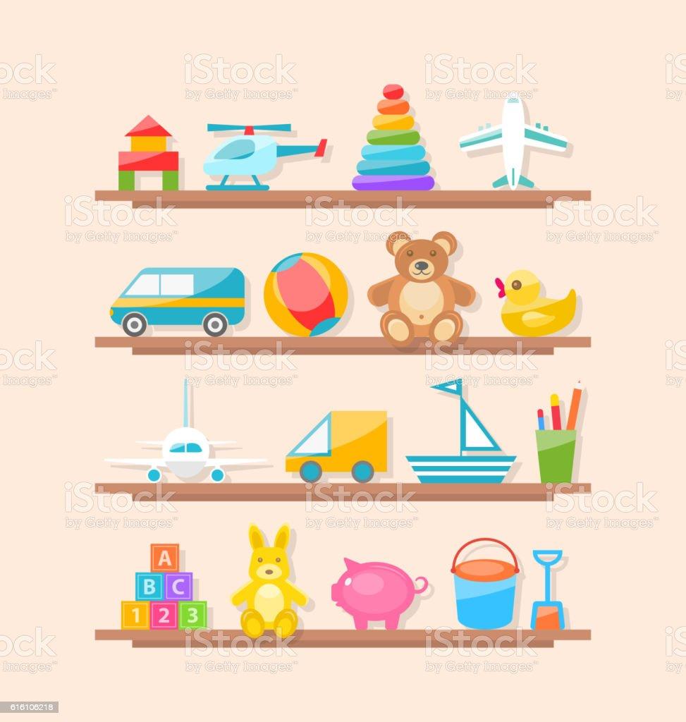 Set of Colorful Children Toys on Shelf. Cartoon Baby Joys - ilustração de arte em vetor