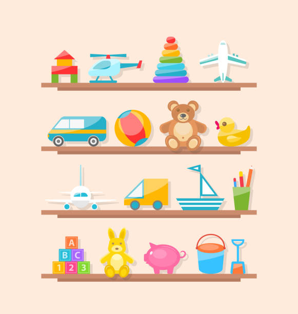 set of colorful children toys on shelf. cartoon baby joys - zabawka stock illustrations