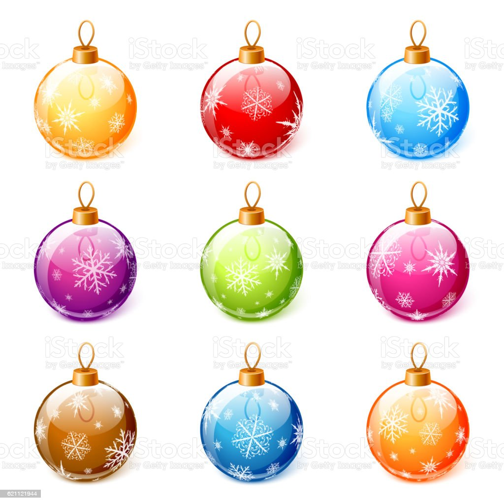 Colorful Christmas.Set Of Colorful Christmas Balls Vector Stock Illustration Download Image Now