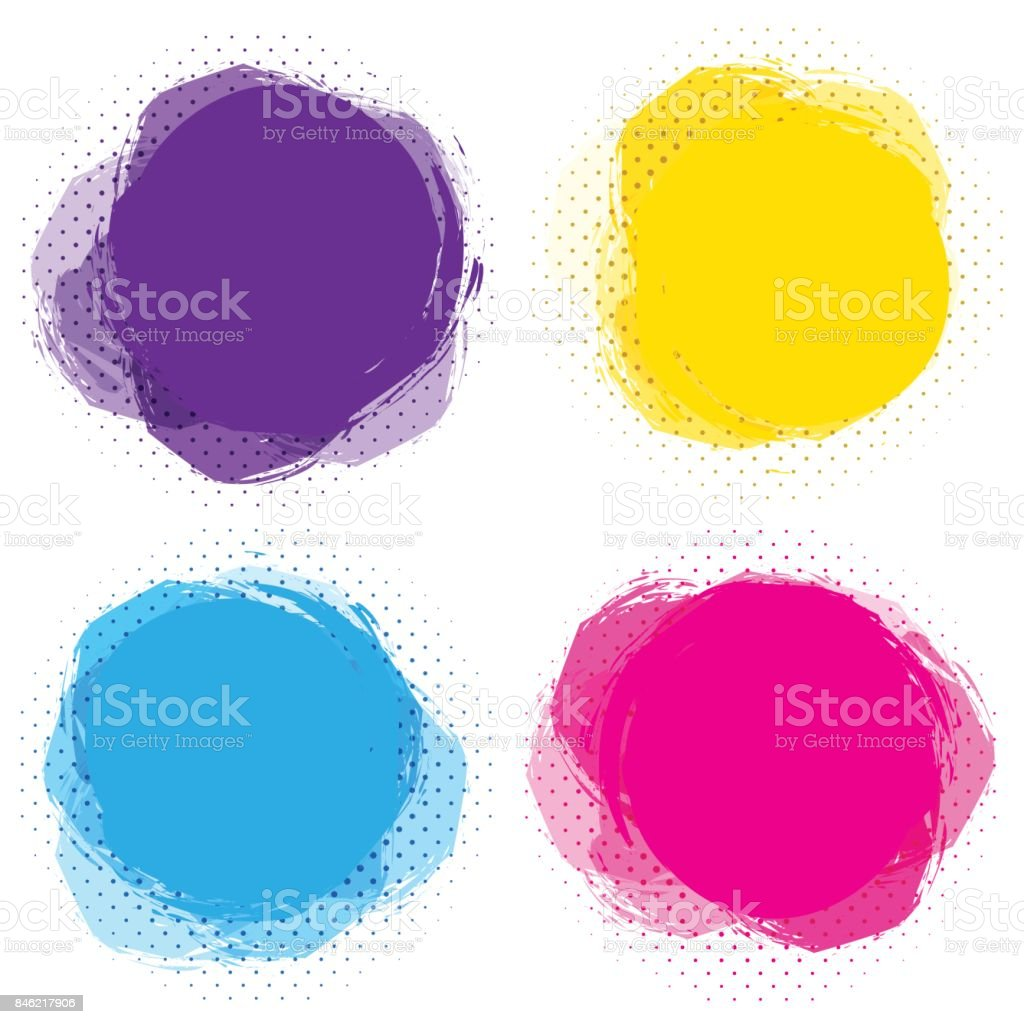 set of colorful circular spots round abstract banners template for