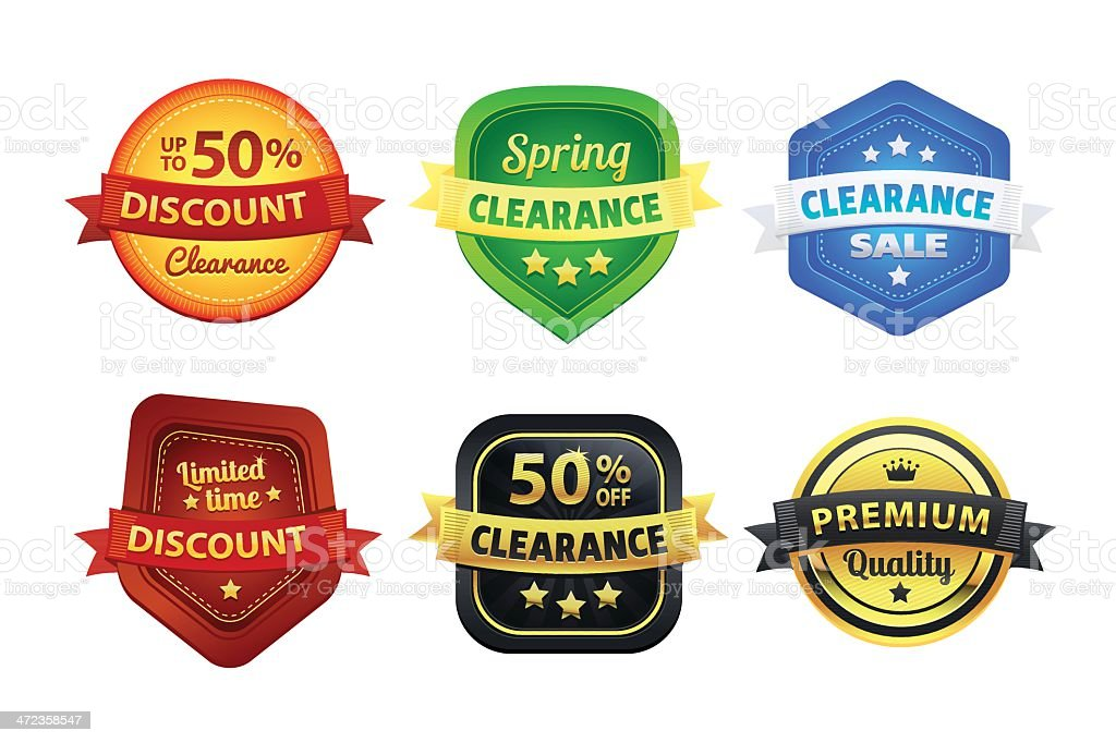 Set Of Colorful Clearance Discount Badges royalty-free set of colorful clearance discount badges stock vector art & more images of badge