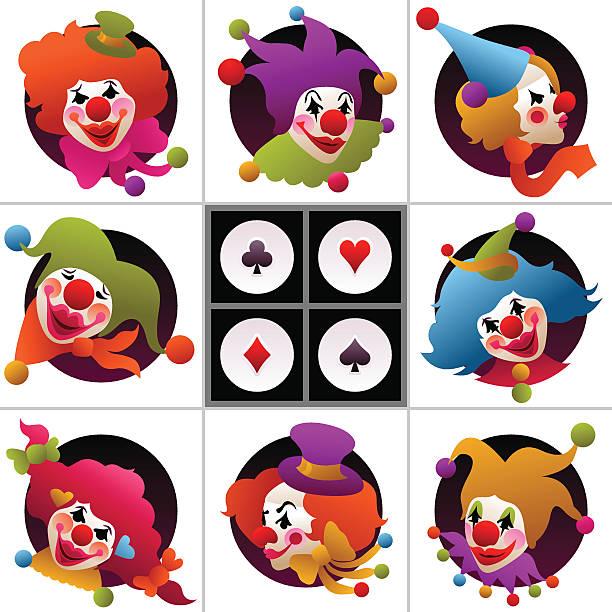 set of colorful clown portraits vector art illustration