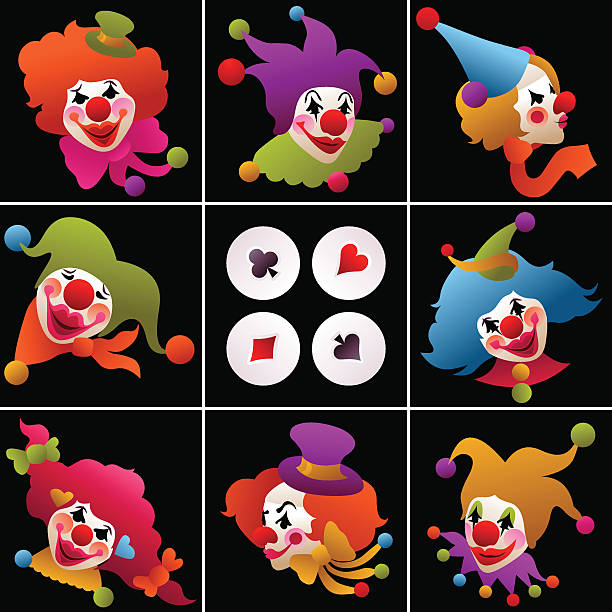 set of colorful clown portraits vector art illustration