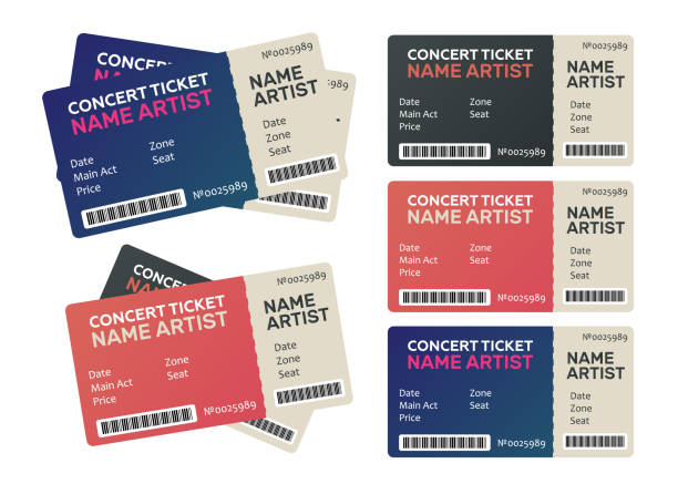 Set of Colorful Concert Tickets. Music, Dance, Live Concert tickets templates vector art illustration