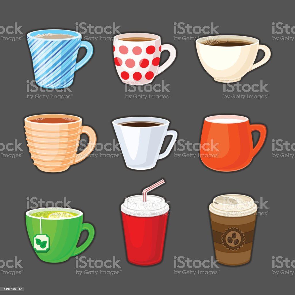 Set of colorful cups with different drinks. Cup of coffee, tea, green tea, milk, cappuccino, latte, espresso, cocoa, soda, coffee to go. vector art illustration