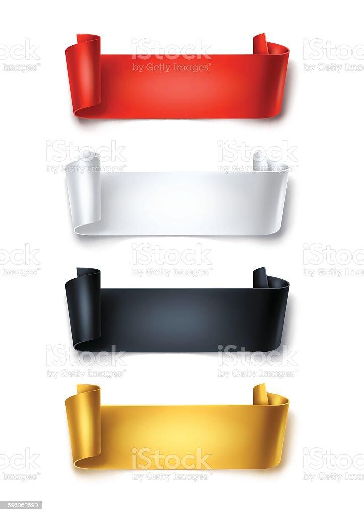 Set of colorful detailed curved ribbons isolated on white background. – Vektorgrafik