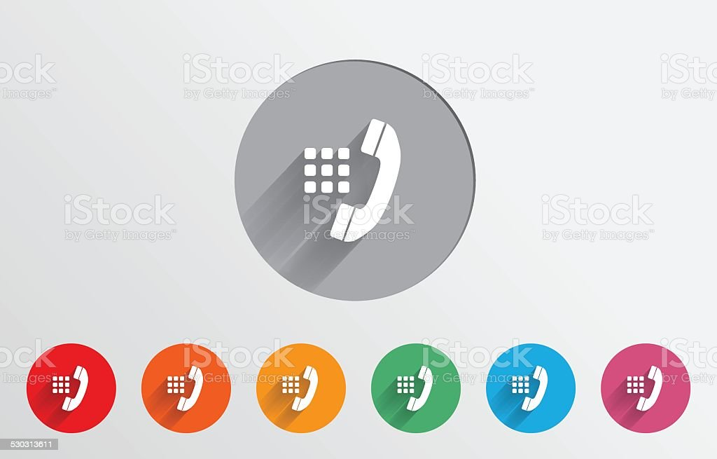 Set of colorful dialer icons vector art illustration