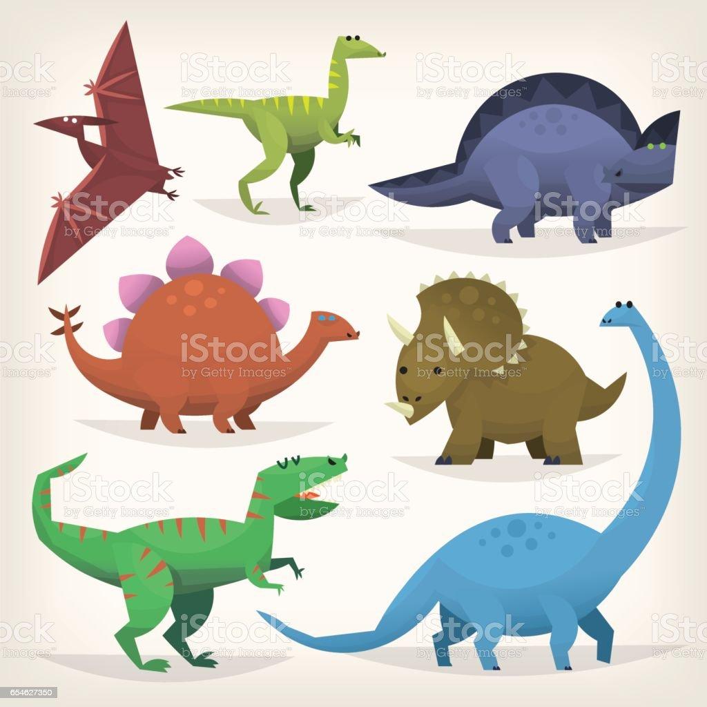 Set of colorful dinosaurus vector art illustration