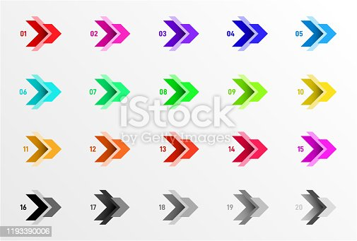 Set of Colorful direction number bullet points from 1 to 20. Simple abstract elements. Geometric vector illustration. Isolated on white background.