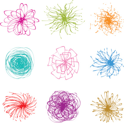 Set of colorful doodles of flowers on white background