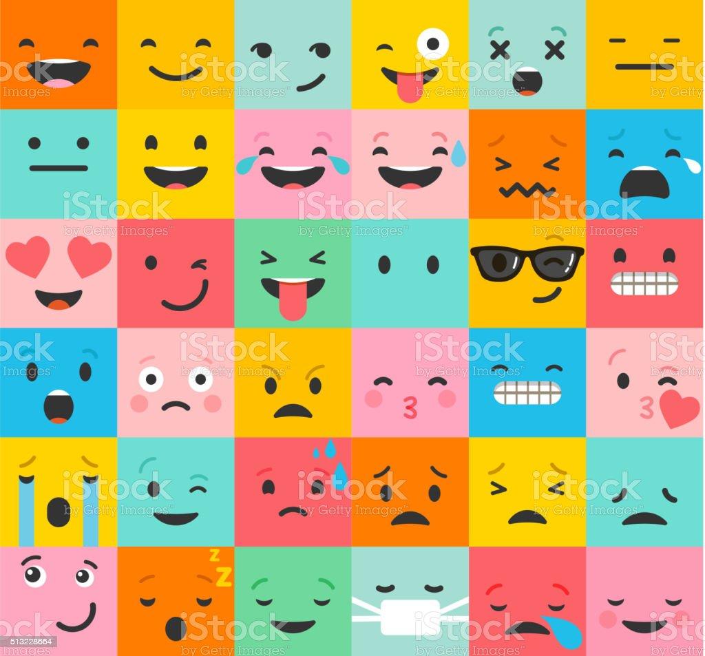 Set of colorful emoticons, emoji flat backgound pattern royalty-free stock vector art