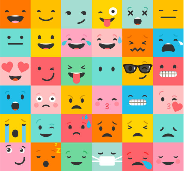 stockillustraties, clipart, cartoons en iconen met set of colorful emoticons, emoji flat backgound pattern - gezichtsuitdrukking