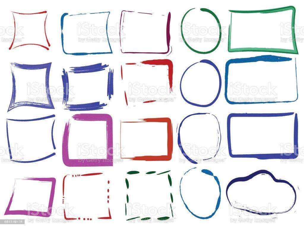 Uppsättning med färgglada tom grunge ramar. Vektorillustration av färgad brush designelement på vit bakgrund. Paint rektangel och runda former royaltyfri uppsättning med färgglada tom grunge ramar vektorillustration av färgad brush designelement på vit bakgrund paint rektangel och runda former-vektorgrafik och fler bilder på abstrakt