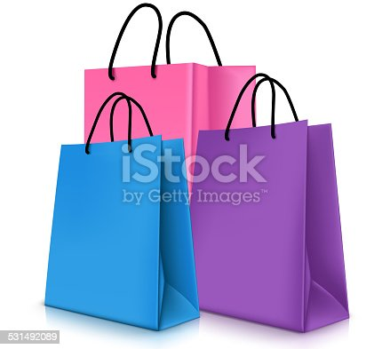 Set of Colorful Empty Shopping Bags Isolated in White Background. Vector Illustration