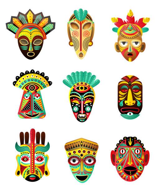 illustrazioni stock, clip art, cartoni animati e icone di tendenza di set di colorato etnico, africano, maschera messicana, elemento rituale - souvenir