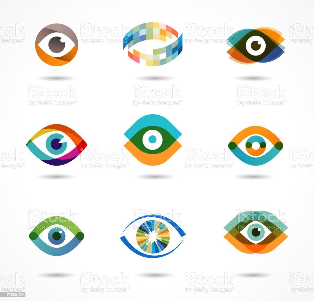 Set of colorful eye icons vector art illustration