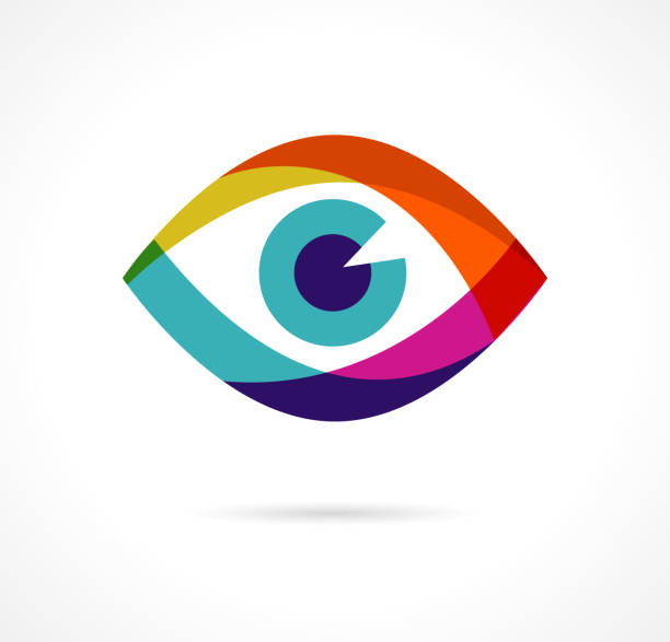 набор красочных иконок глаз - глазное яблоко stock illustrations
