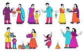 Set of colorful family scenes from India showing assorted family traditions with couples and kids, colored vector illustration