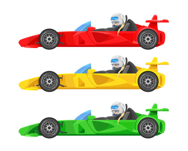 set of colorful fast motor racing cars, formula 1 (one), bolides sport racing car flat vector icons isolated on white background. speed motor drive. view side. vector illustration - formula 1 stock illustrations