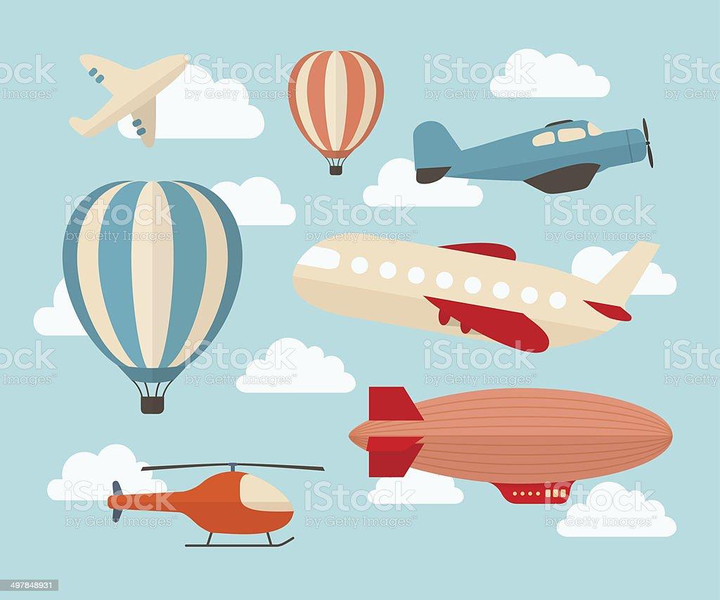 Set of colorful flat air transports vector art illustration
