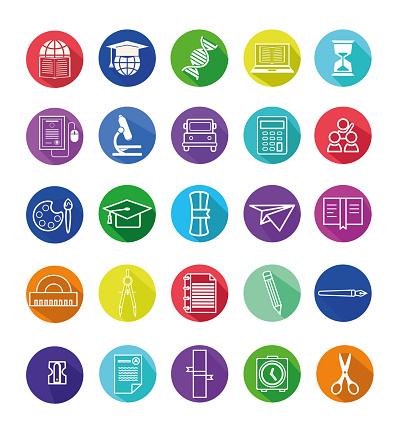 A set of colorful flat design education related vector icons. School supplies icons with a long side shadow. Modern,  trendy stock illustration icon set of Academy.