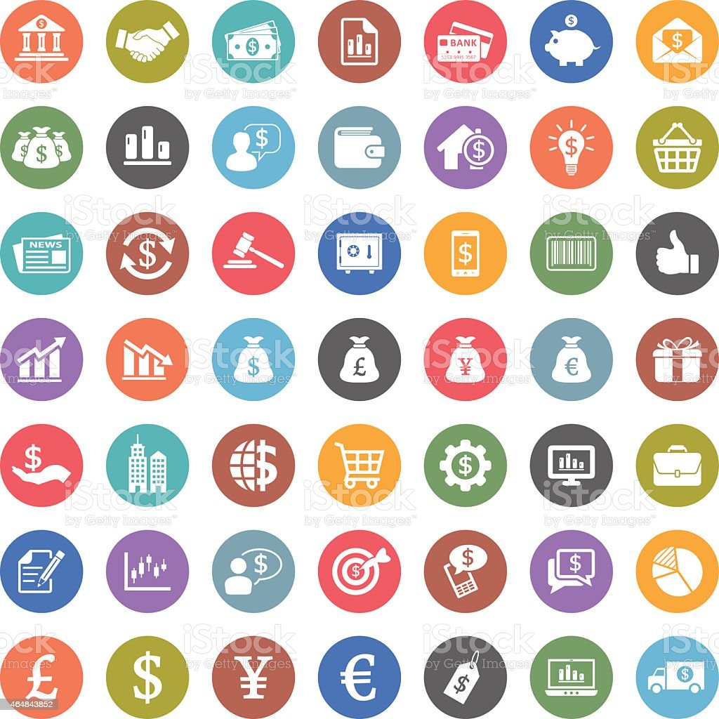 Set of colorful flat icons for finance and economy vector art illustration