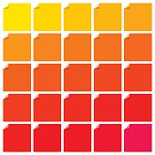 Set of colorful blank flat labels with curled corners. Folded corners. Vector illustration set.