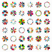 set of colorful floral pattern icon