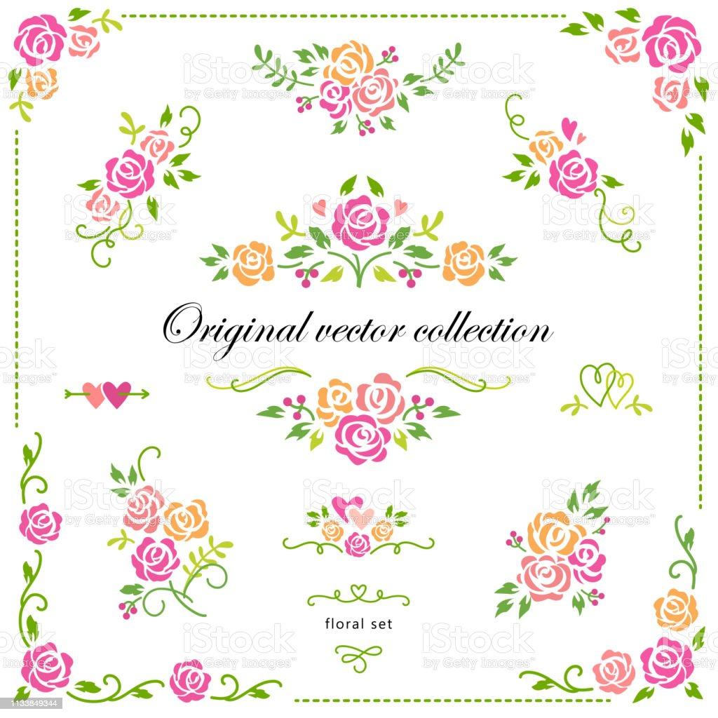 set of colorful flourish design elements borders labels corners ornate floral vector motifs with roses romantic collection for wedding valentines day stock illustration download image now istock https www istockphoto com ae vector set of colorful flourish design elements borders labels corners ornate floral gm1133849344 301086781