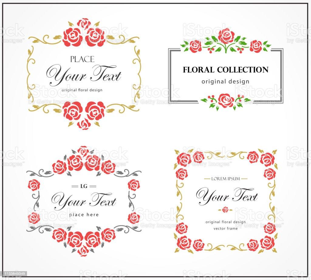Ilustración De Conjunto De Logotipo De Florecimiento