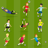 Set of colorful football players on different positions playing soccer on a green field. vector illustration in flat style.